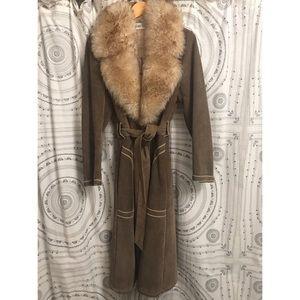 VTG Bonwit Teller Shearling Lined Suede Coat